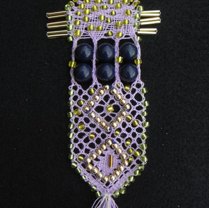 Beaded lace sampler designed for Jan's book. Torchon Lacemaking.