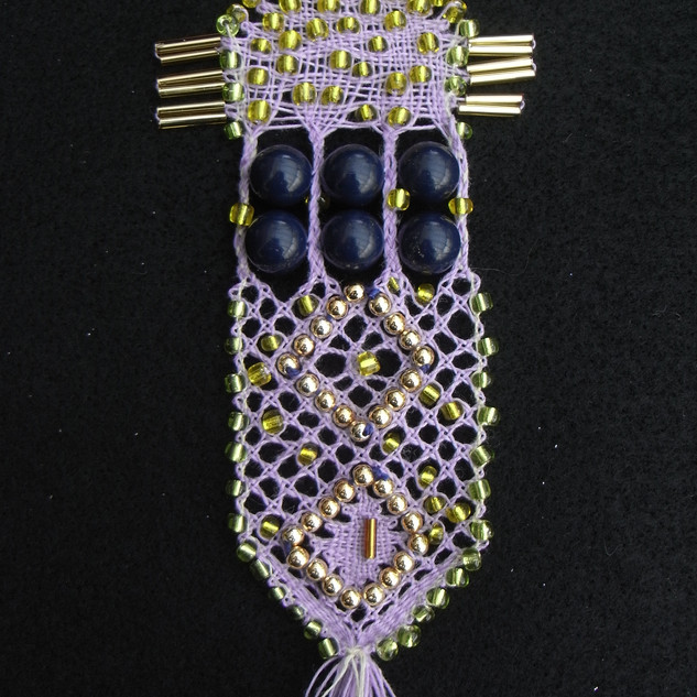 Beaded lace sampler designed for Jan's book.