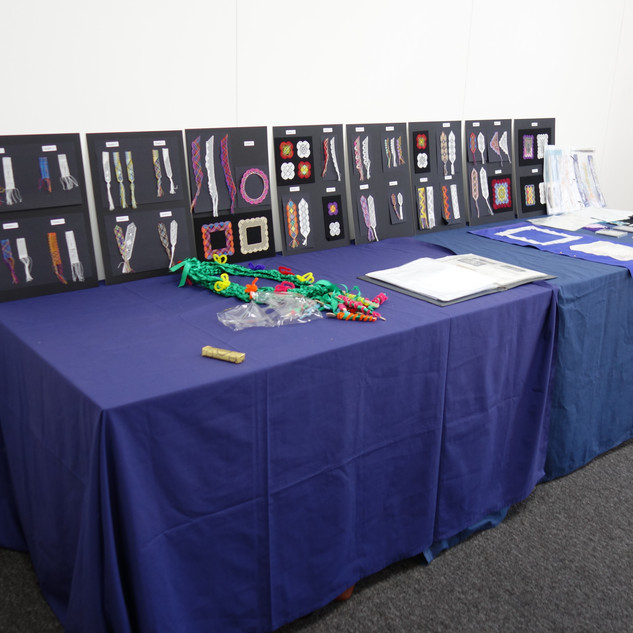 One of the display tables Showing samples from my book - TORCHON LACEMAKING