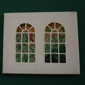 An early textile based on the view through a window.