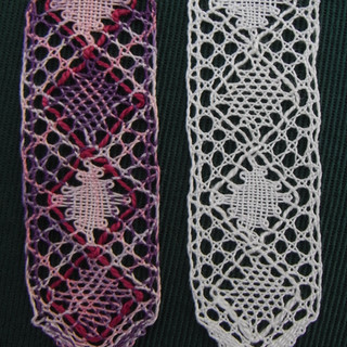 Illustration of bookmarks made using gimps, and diamonds. An extension pattern after sampler 8