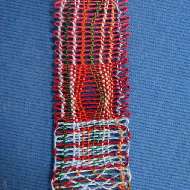 Rachel's first bobbin lace sampler completed.
