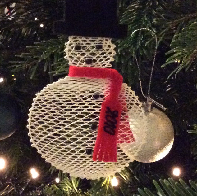 Jan designed this Bobbin Lace snowman