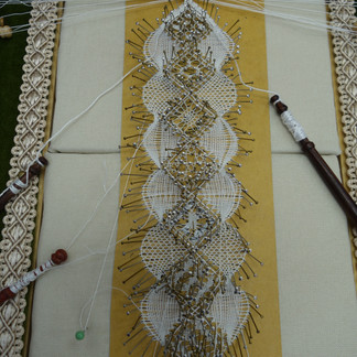 Torchon Bookmark being completed.