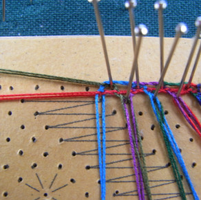 sampler 20 - beginning a piece on a straight horizontal line with a footside along the top