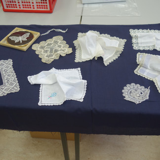 Display of Bobbin Lace brought to the course by students.