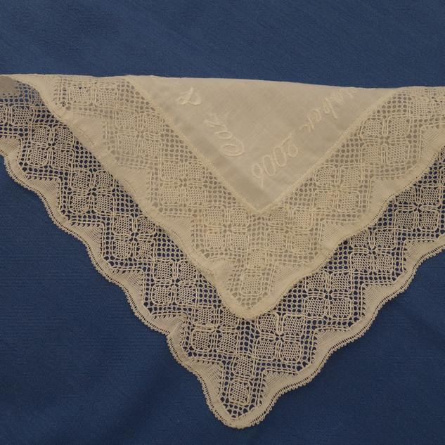 A Torchon wedding handkerchief.