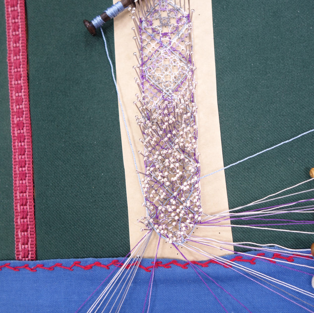 Jane worked on the Torchon roseground sampler from my book, in progress