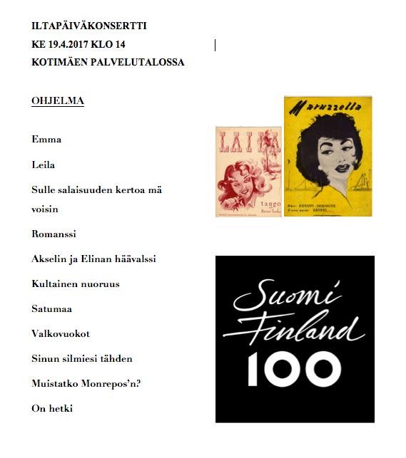 19.4.2017 Iltapäiväkonsertti