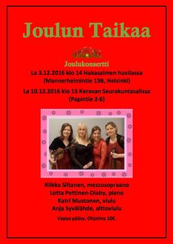 3. ja 10.12.2016 Joulukonsertti