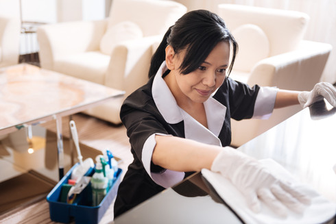 Pleasant nice hotel maid cleaning the ho