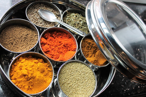 Stainless Steel Spice Box, Fully Loaded with Spices