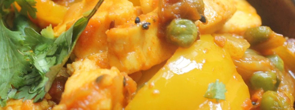 Bell pepper and peas curry