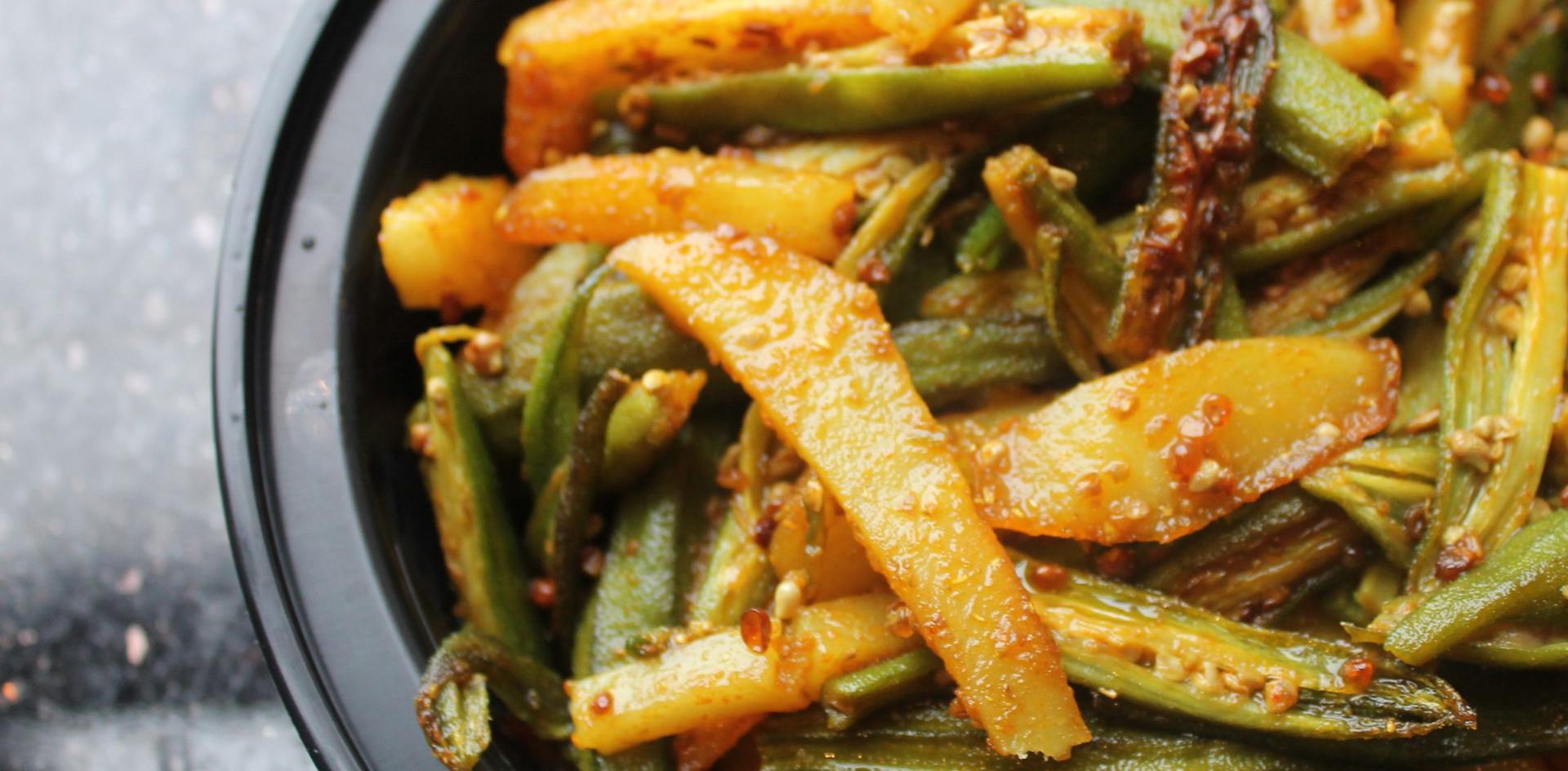 Okra and potato stir fry