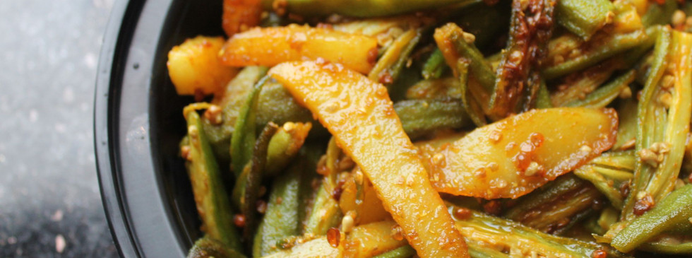 Okra and potato stir fry