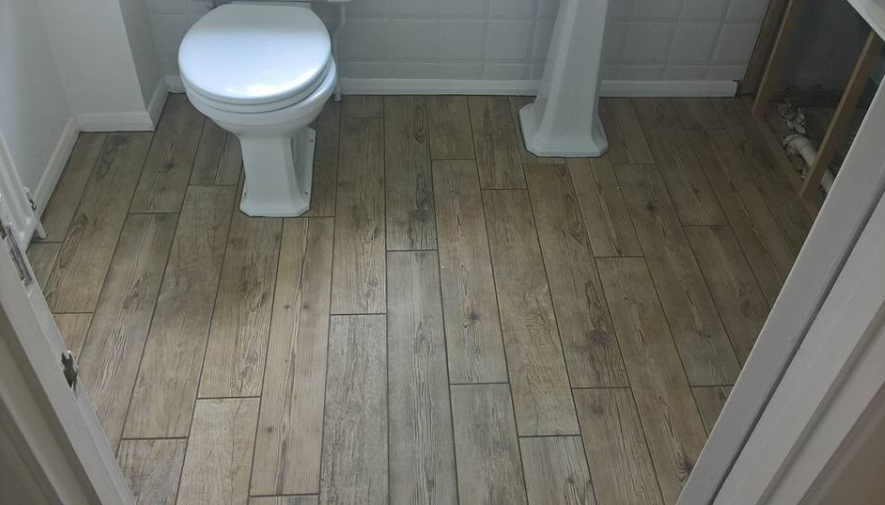 Tiled wood effect floor