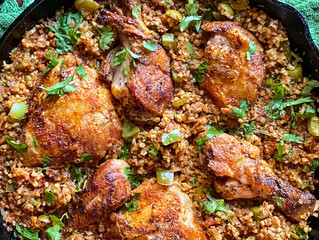 Spanish Cantina Salsa Cauliflower Rice  and Chicken Skillet
