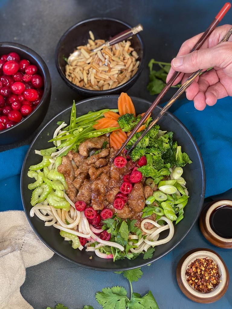 Cranberry Korean BBQ Pork Noodle Bowl