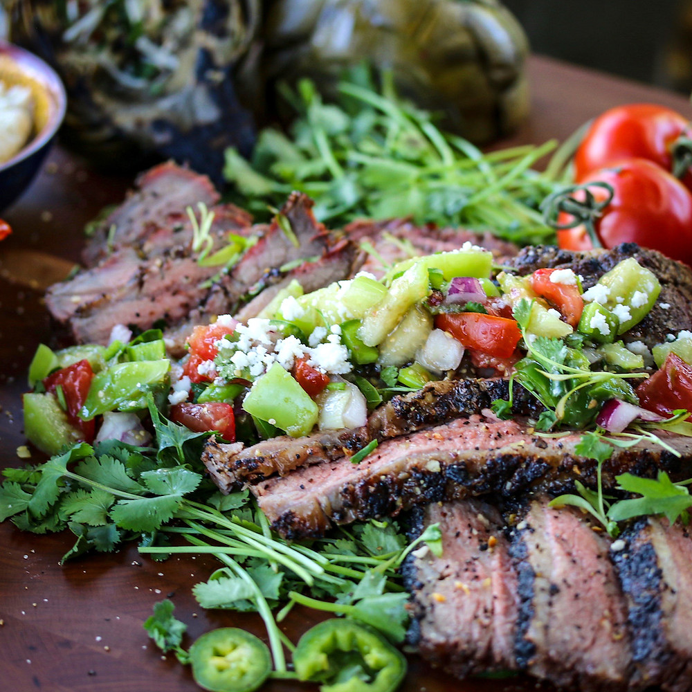 Tri-Tip with fresh salsa and goat cheese.