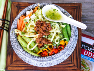 Fusion Yum: Salsa Verde Chorizo Udon Noodle Soup