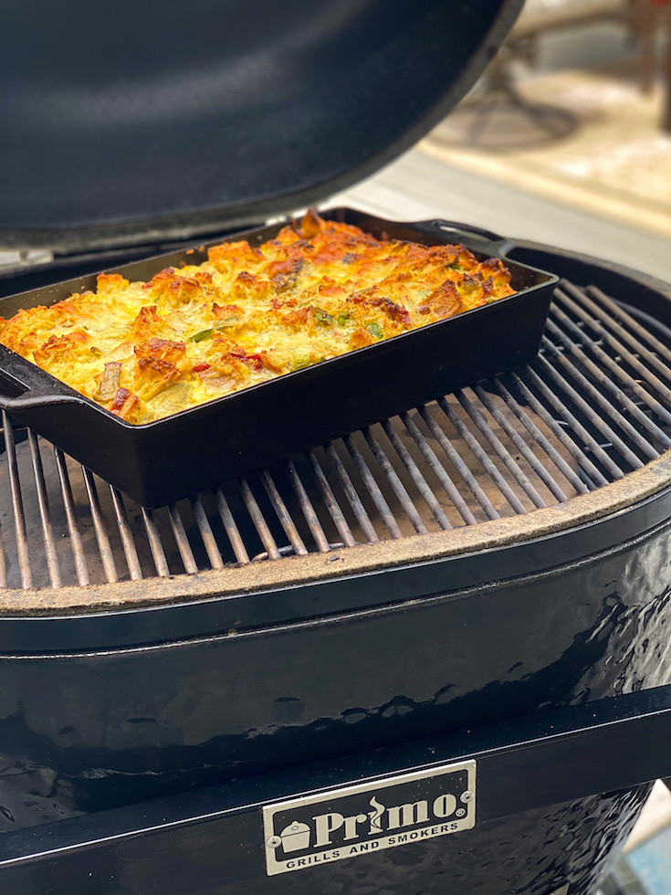Smoked Strata on a Primo grill.