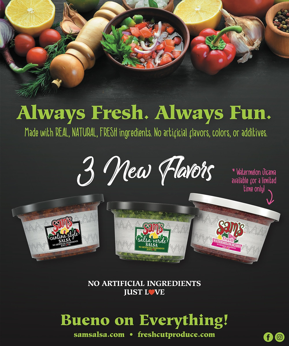 Photo of 3 tubs of Sam's fresh salsa.