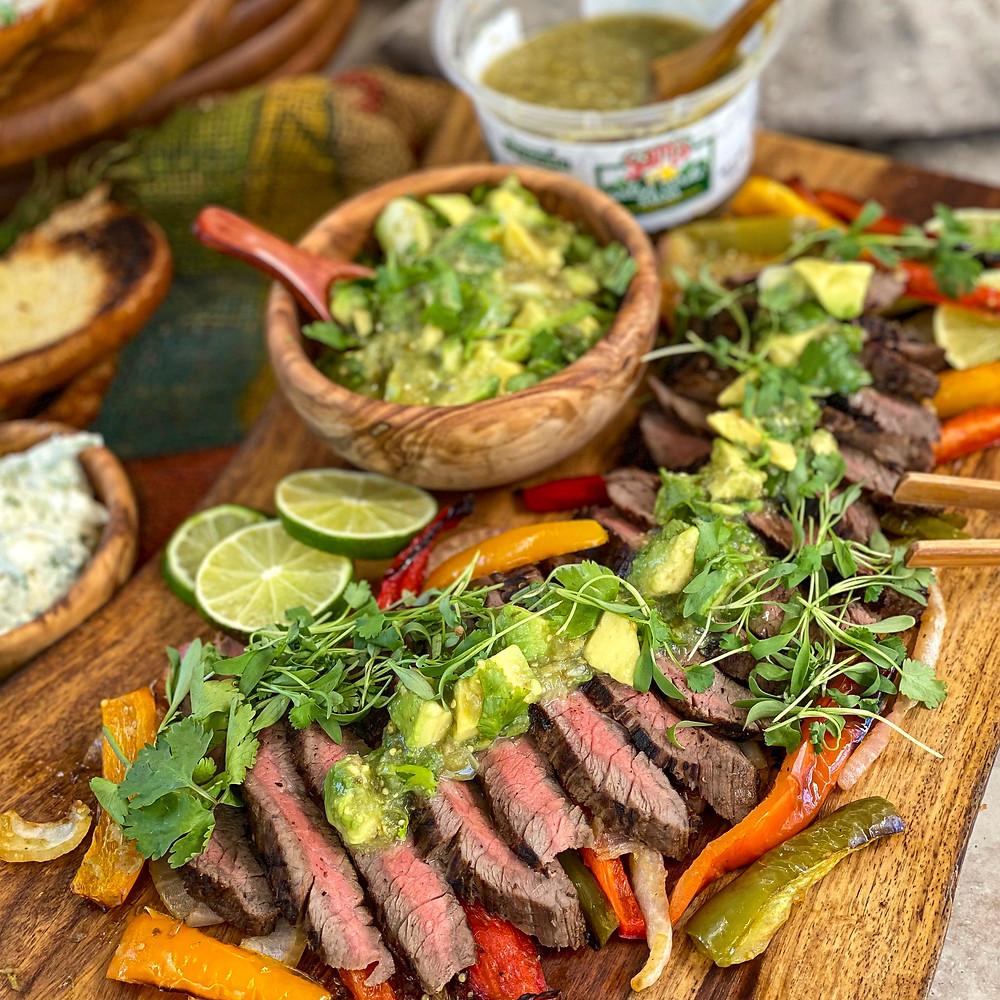 Salsa Verde Steak Platter
