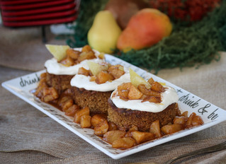 Speculaas Spice Pear-Nog Cake with Mascarpone Whip and Caramelized Pears