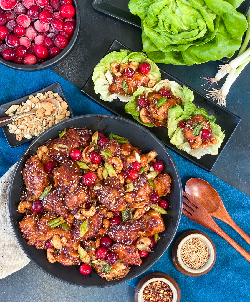 Cashew Crunch Cranberry Chicken with Scallions