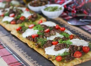 #Aussome Holiday Bite: Tapenade Aussie Lamb Pesto Flatbread with Fennel, Tomatoes and Mozzarella
