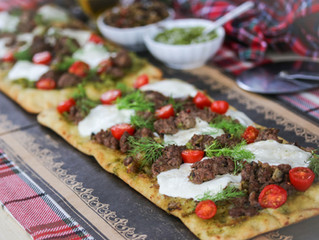 #Aussome Holiday Bite: Tapenade Aussie Lamb Pesto Flatbread with Fennel, Tomatoes and Mozzarella