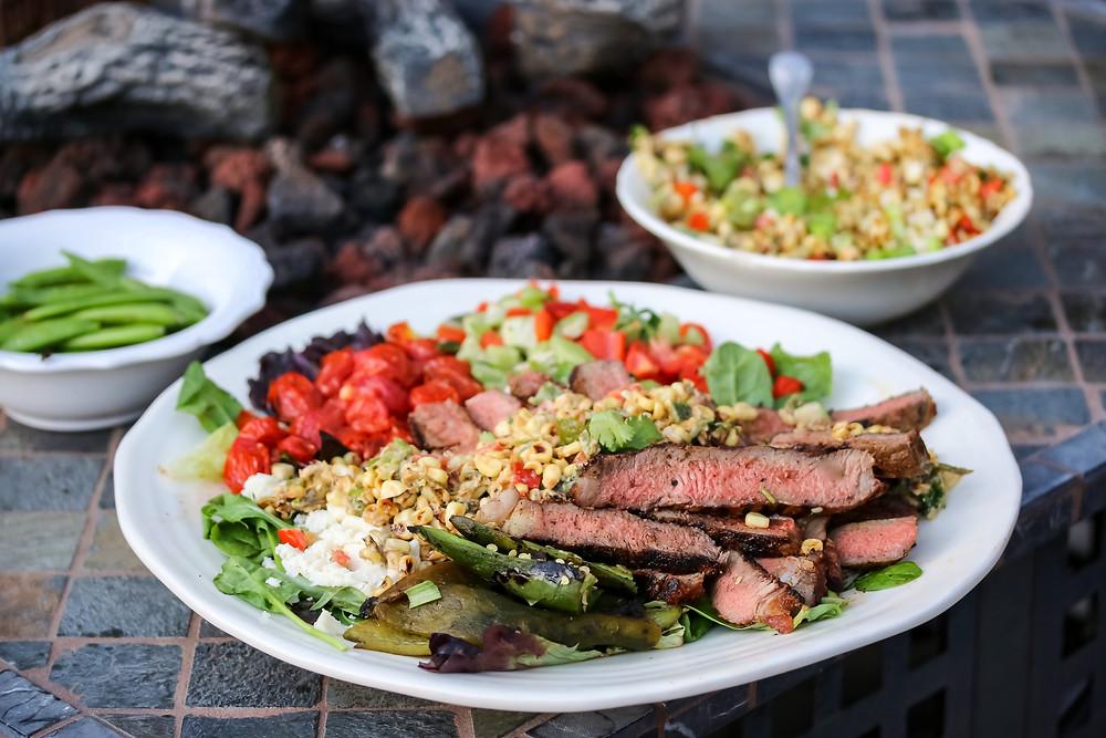 Aussie Grassfed Steak Salad and Roasted Corn Salad