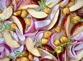 Baconized Rosemary Pears with Potatoes and Red Onions