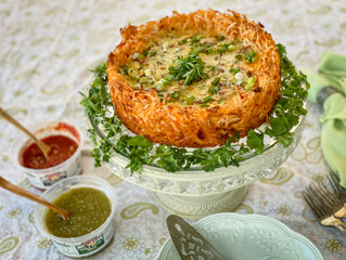 Sam's Salsa Verde Quiche with Cantina Style Salsa Hash Brown Crust