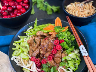 Cranberry Korean BBQ Pork Noodle Bowl