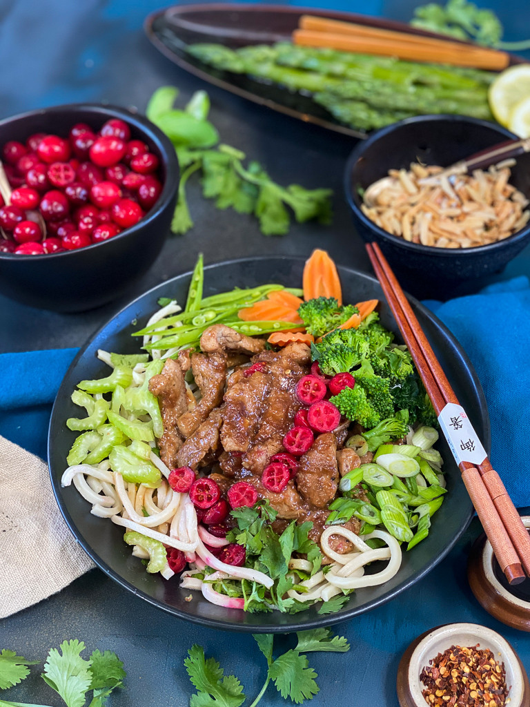 Cranberry Korean BBQ Pork, Veggie and Noodle Bowl