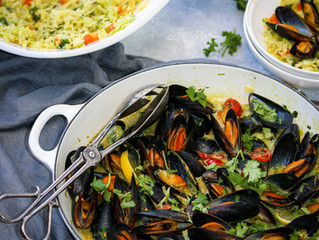 Thai Coconut Mussels over Wilted Cabbage