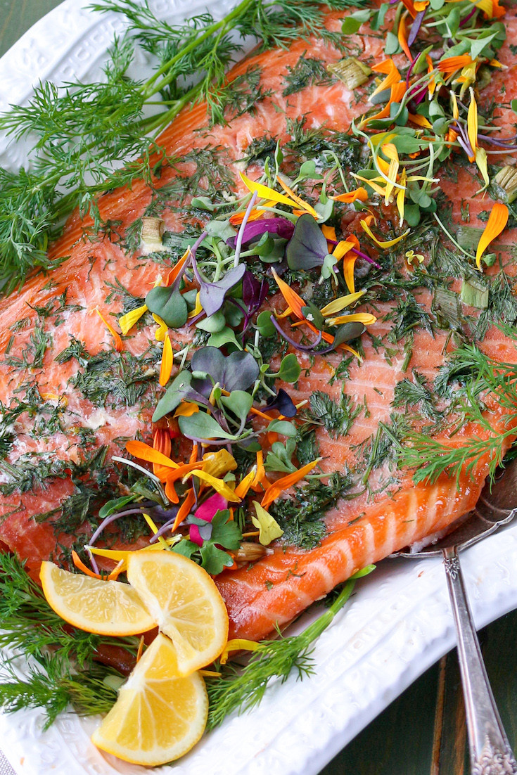 A festive Easter Smoked Salmon with Dill Dip