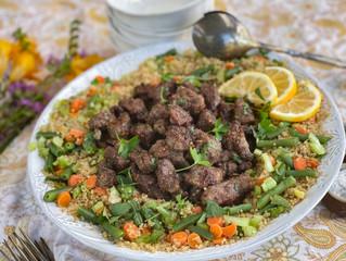 Pan Fried Aussie Lamb Strips over Veggie Quinoa