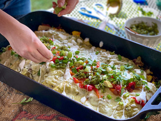 Smoked Tomatillo Salsa Breakfast Enchiladas with Pork and Scrambled Eggs
