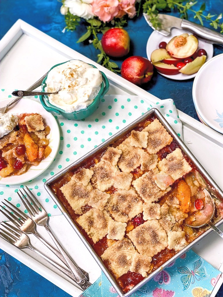 Patchwork Embossed Cran-Peach Pie