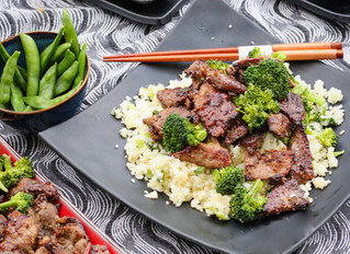 Teriyaki Aussie Lamb and Broccoli over Cauliflower Rice