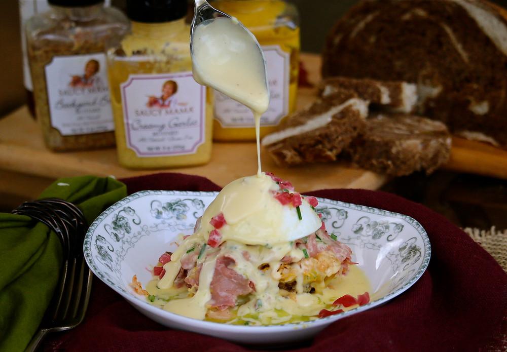 Reuben-Style Eggs Benedict Recipe