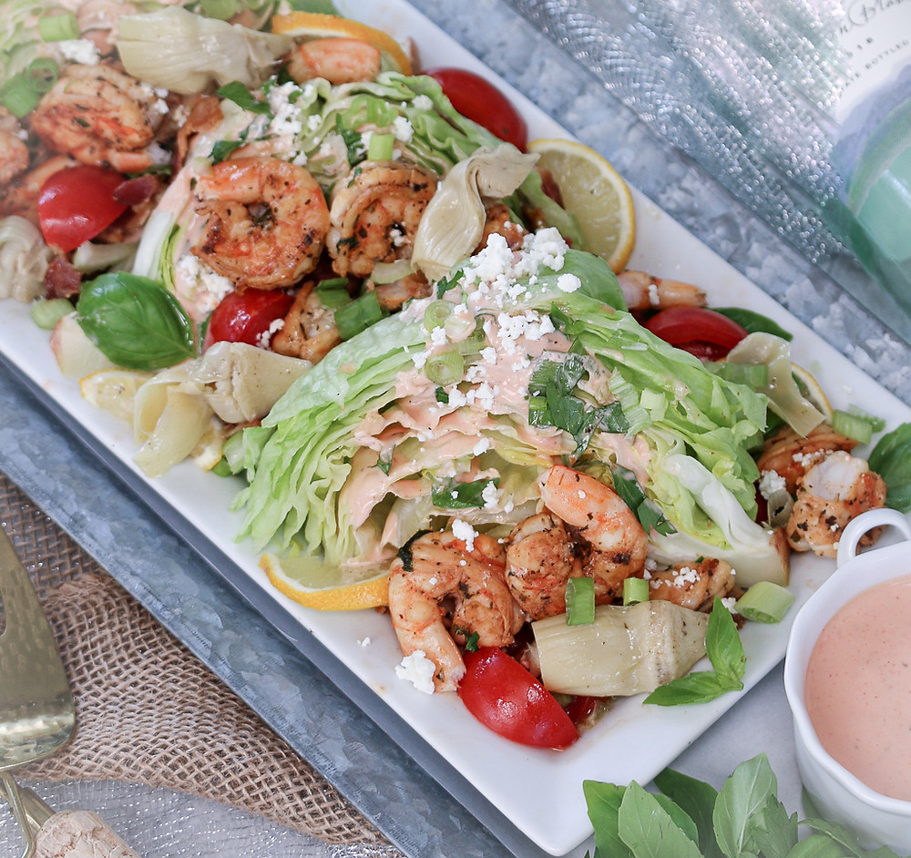 Mexican Shrimp Wedge Salad with artichoke hearts and bacon