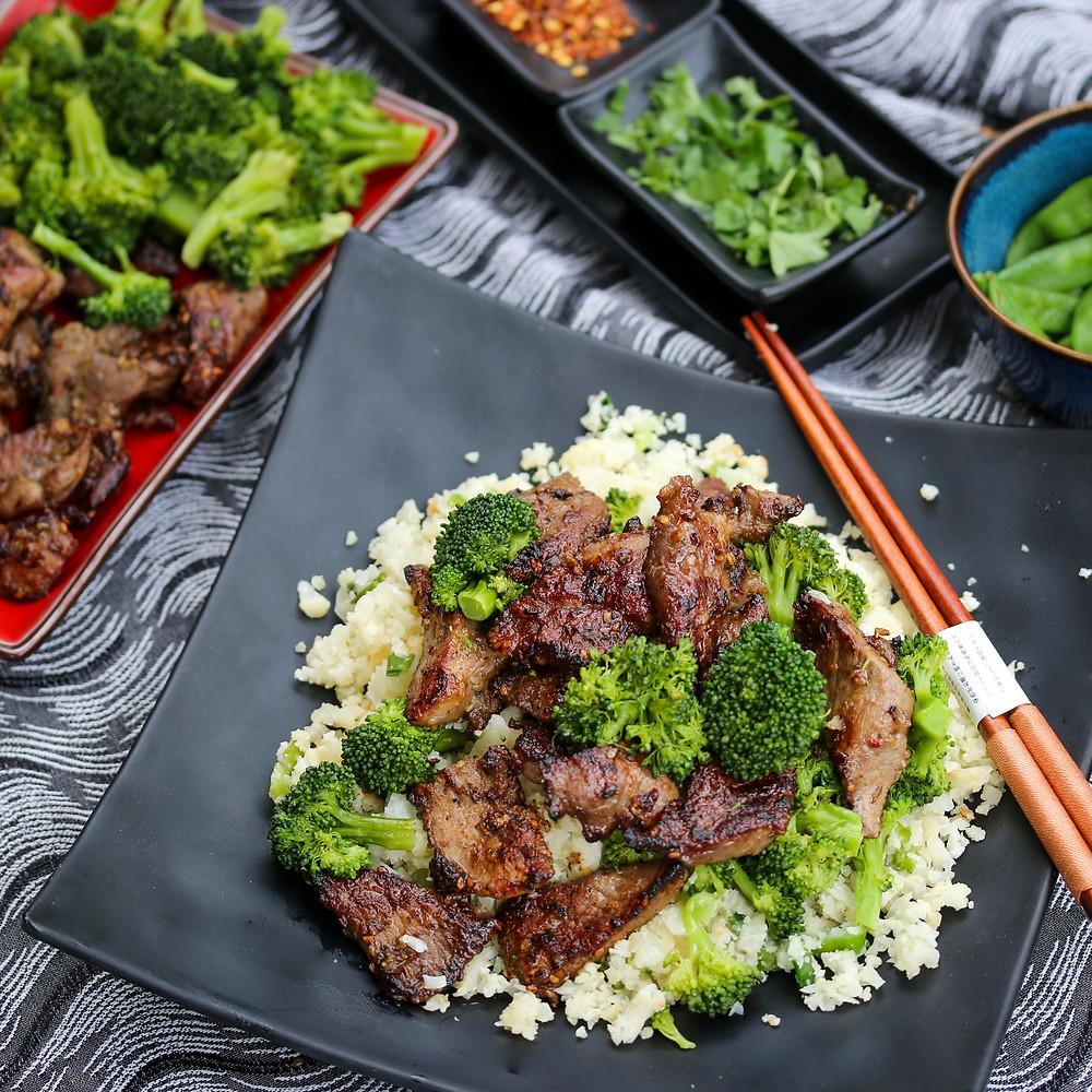 Teriyaki Aussie Lamb and Broccoli over Cauliflower Rice