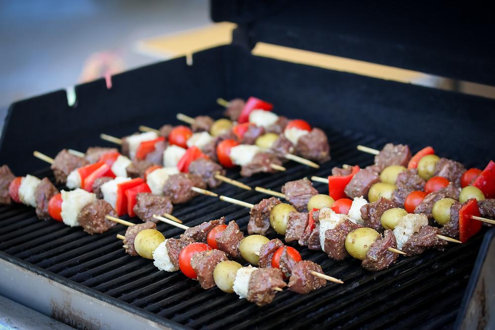Aussie Grassfed Beef, Bread, and Veggie Skewers