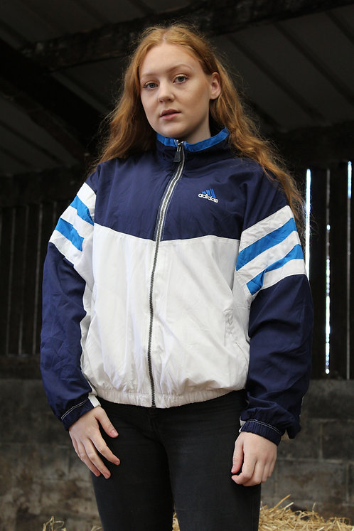Adidas White & Blue Tracksuit Top