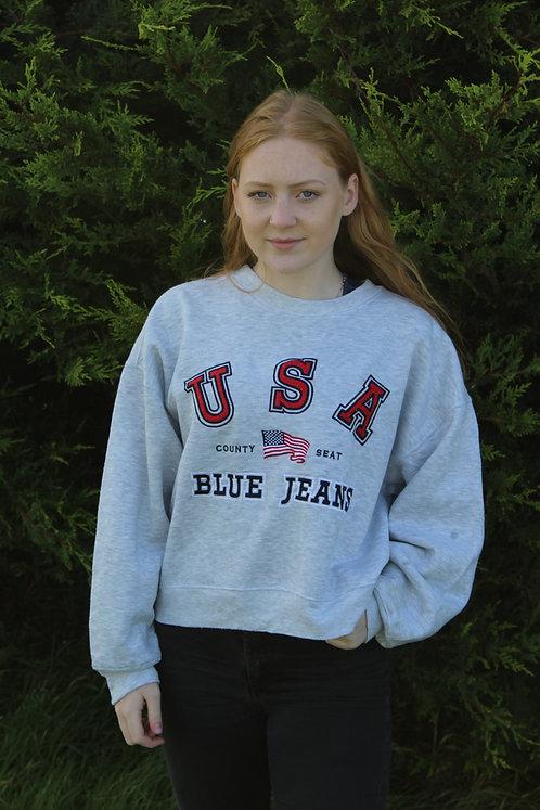 Cropped USA Grey Sweater