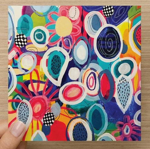 Colorful Circles Blank Greeting Card and Envelope