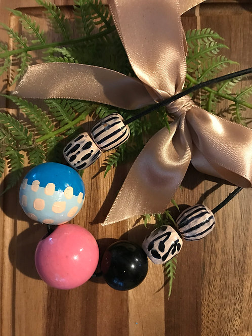 Funky hand painted wooden bead necklace